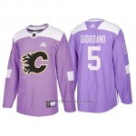 Camiseta Calgary Flames Mark Giordano Hockey Fights Cancer Violeta
