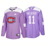 Camiseta Hockey Hombre Autentico Montreal Canadiens 11 Brendan Gallagher Hockey Fights Cancer 2018 Violeta