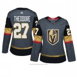 Camiseta Hockey Mujer Vegas Golden Knights 27 Shea Theodore Gris Autentico Home