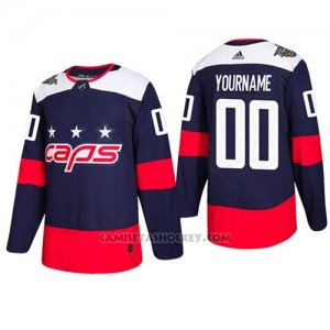 Camiseta Hockey Hombre Washington Capitals Autentico 2018 Stadium Stitched Personalizada Azul