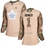 Camiseta Hockey Mujer Toronto Maple Leafs 1 Johnny Bower Camo Autentico 2017 Veterans Day Stitched