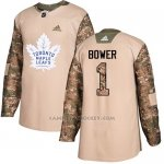 Camiseta Hockey Nino Toronto Maple Leafs 1 Johnny Bower Camo Autentico 2017 Veterans Day Stitched