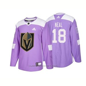 Camiseta Hockey Hombre Autentico Vegas Golden Knights 18 James Neal Hockey Fights Cancer 2018 Violeta