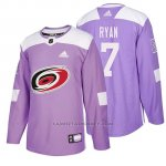 Camiseta Carolina Hurricanes Derek Ryan Hockey Fights Cancer Violeta