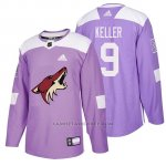 Camiseta Arizona Coyotes Clayton Keller Hockey Fights Cancer Violeta
