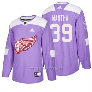Camiseta Detroit Red Wings Anthony Mantha Hockey Fights Cancer Violeta
