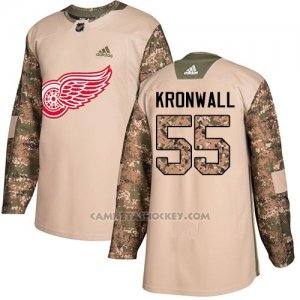 Camiseta Hockey Hombre Detroit Red Wings 55 Niklas Kronwall Camo Autentico 2017 Veterans Day Stitched