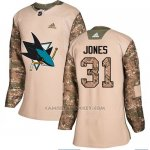Camiseta Hockey Mujer San Jose Sharks 31 Martin Jones Camo Autentico 2017 Veterans Day Stitched