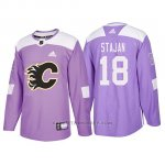 Camiseta Calgary Flames Matt Stajan Hockey Fights Cancer Violeta