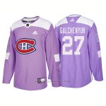 Camiseta Hockey Hombre Autentico Montreal Canadiens 27 Alex Galchenyuk Hockey Fights Cancer 2018 Violeta