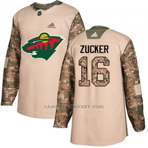 Camiseta Hockey Hombre Minnesota Wild 16 Jason Zucker Camo Autentico 2017 Veterans Day Stitched