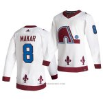 Camiseta Hockey Colorado Avalanche Cale Makar Reverse Retro Autentico 2021 Blanco