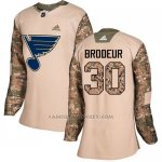 Camiseta Hockey Mujer St. Louis Blues 30 Martin Brodeur Camo Autentico 2017 Veterans Day Stitched