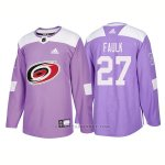 Camiseta Hockey Hombre Autentico Carolina Hurricanes 27 Justin Faulk Hockey Fights Cancer 2018 Violeta