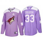Camiseta Arizona Coyotes Alex Goligoski Hockey Fights Cancer Violeta