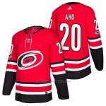 Camiseta Hockey Hombre Autentico Carolina Hurricanes 20 Sebastian Aho Home 2018 Rojo