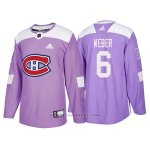 Camiseta Hockey Hombre Autentico Montreal Canadiens 6 Shea Weber Hockey Fights Cancer 2018 Violeta