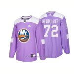 Camiseta Hockey Hombre Autentico New York Islanders 72 Anthony Beauvillier Hockey Fights Cancer 2018 Violeta
