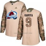 Camiseta Hockey Nino Colorado Avalanche 9 Paul Kariya Camo Autentico 2017 Veterans Day Stitched