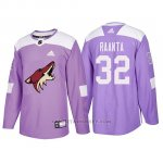 Camiseta Arizona Coyotes Antti Raanta Hockey Fights Cancer Violeta