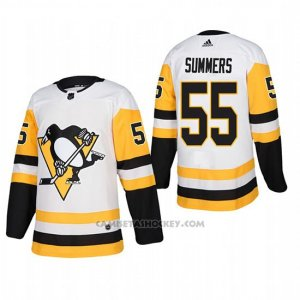 Camiseta Hockey Hombre Pittsburgh Penguins 55 Chris Summers Away Autentico Jugador Blanco