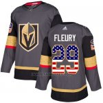 Camiseta Hockey Nino Vegas Golden Knights 29 Marc-andre Fleury Gris Home Autentico USA Flag Stitched