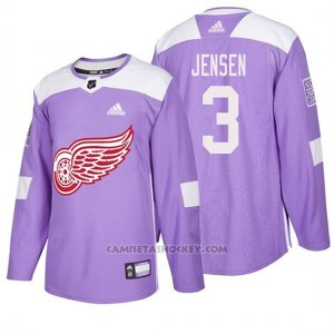 Camiseta Detroit Red Wings Nick Jensen Hockey Fights Cancer Violeta