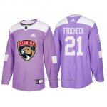 Camiseta Florida Panthers Vincent Trocheck Hockey Fights Cancer Violeta