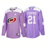 Camiseta Hockey Hombre Autentico Carolina Hurricanes 21 Lee Stempniak Hockey Fights Cancer 2018 Violeta