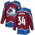 Camiseta Hockey Colorado Avalanche 34 Carl Soderberg Primera Autentico Rojo