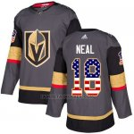Camiseta Hockey Nino Vegas Golden Knights 18 James Neal Gris Home Autentico USA Flag Stitched