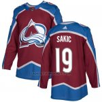 Camiseta Hockey Nino Colorado Avalanche 19 Joe Sakic Burgundy Home Autentico Stitched