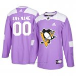 Camiseta Hockey Hombre Pittsburgh Penguins Personalizada Violeta