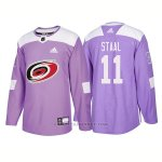 Camiseta Hockey Hombre Autentico Carolina Hurricanes 11 Jordan Staal Hockey Fights Cancer 2018 Violeta