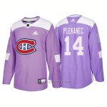 Camiseta Hockey Hombre Autentico Montreal Canadiens 14 Tomas Plekanec Hockey Fights Cancer 2018 Violeta