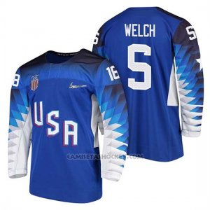 Camiseta USA Team Hockey 2018 Olympic Noah Welch Blue 2018 Olympic