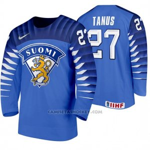 Camiseta Hockey Finlandia Kristian Tanus Away 2020 IIHF World Junior Championship Blue
