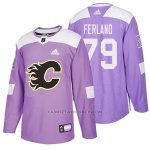 Camiseta Calgary Flames Micheal Ferland Hockey Fights Cancer Violeta