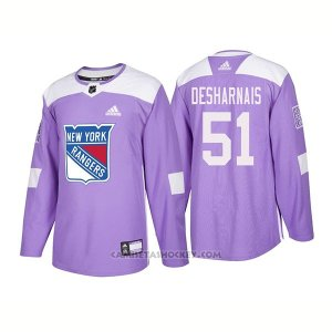 Camiseta Hockey Hombre Autentico New York Rangers 51 David Desharnais Hockey Fights Cancer 2018 Violeta