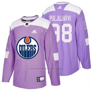 Camiseta Edmonton Oilers Jesse Puljujarvi Hockey Fights Cancer Violeta