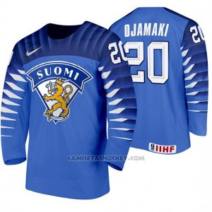 Camiseta Hockey Finlandia Niko Ojamaki Away 2020 IIHF World Championship Azul