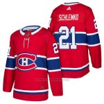 Camiseta Hockey Hombre Autentico Montreal Canadiens 21 David Schlemko Home 2018 Rojo