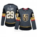 Camiseta Hockey Mujer Vegas Golden Knights 29 Marc Andre Fleury Gris Autentico Home