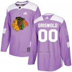 Camiseta Hockey Hombre Chicago Blackhawks Personalizada Violeta