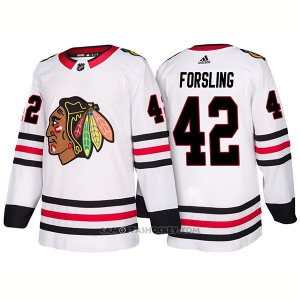 Camiseta Hockey Hombre Male Blackhawks 42 Gustav Forsling 2018 Blanco