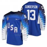 Camiseta USA Team Hockey 2018 Olympic Ryan Gunderson Blue 2018 Olympic