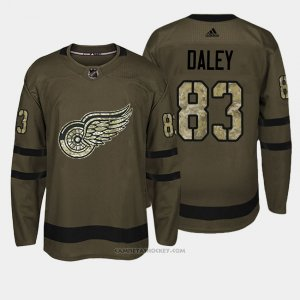 Camiseta Hockey Hombre Detroit Red Wings 83 Trevor Daley Verde Salute To Service