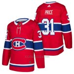 Camiseta Hockey Hombre Autentico Montreal Canadiens 31 Carey Price Home 2018 Rojo