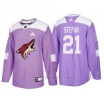 Camiseta Arizona Coyotes Derek Stepan Hockey Fights Cancer Violeta
