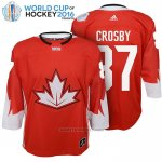 Camiseta Hockey Nino Canada 87 Sidney Crosby 2016 World Cup Rojo